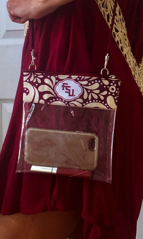 Game Day Clear Bag, Garnet and Gold Accessories, Clear Purse, Stadium Bag