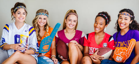 Game day beaded headbands with detachable and adjustable elastic