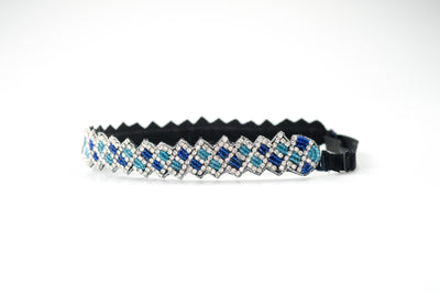 Crystal and blue beaded hat band with adjustable strap