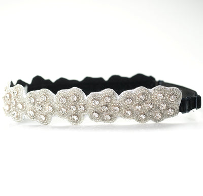 adjustable fashion headband with crystals and clear beads