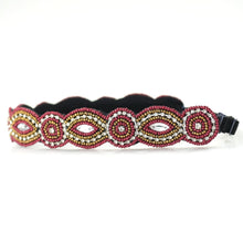 garnet and gold beaded headband, red and gold beaded headband
