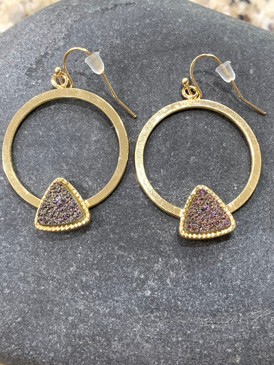 Slate druzy earrings