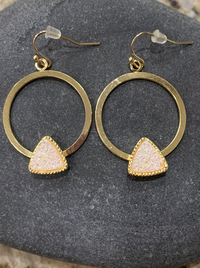 White druzy gold circular earrings