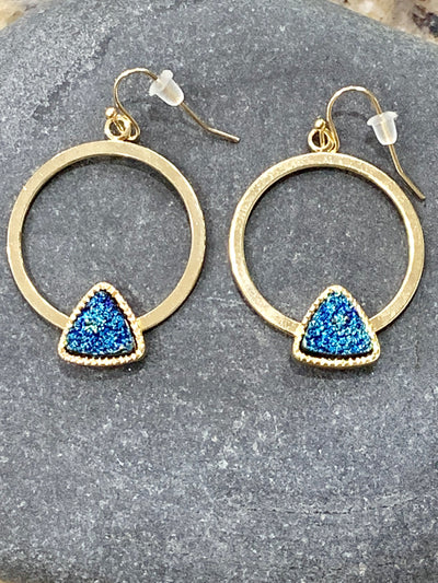 Blue hoop earrings, druzy earrings