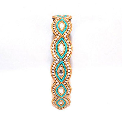Gold and Turquoise oval beaded Hat Band