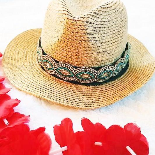 sun hat band, removable hat band, crystal hat band