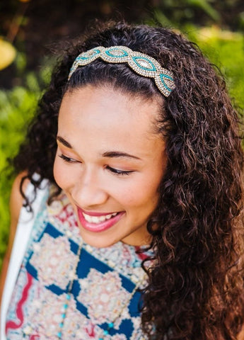 Turquoise and gold beaded headband