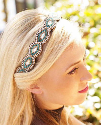 Alexa hand beaded headband in turquoise and gold