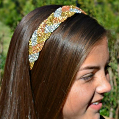 Anna Beaded Headband - Tri- Gold beaded headband