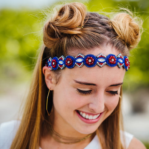 red, white and blue beaded headband, adjustable elastic