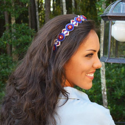 Avery Beaded Headband - Red white and blue headband