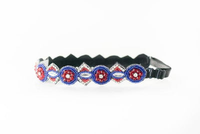 Avery Red white and blue beaded Hat Band with adjustable strap