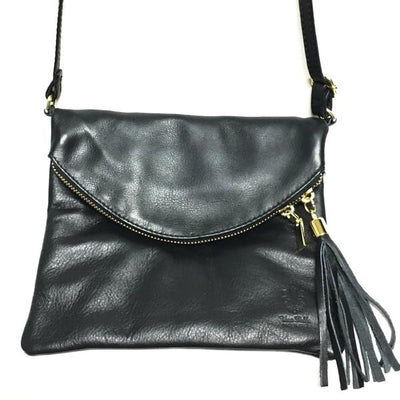 Black Leather Purse with tassel zipper, cross body strap