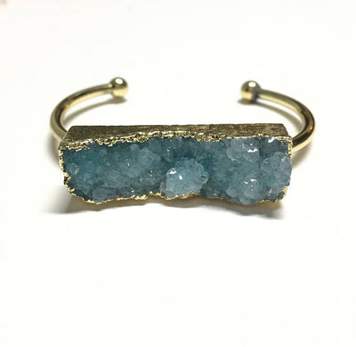 Colored Quartz Druzy Cuff Bracelet - Infinity Headbands by Ambrosia Designs