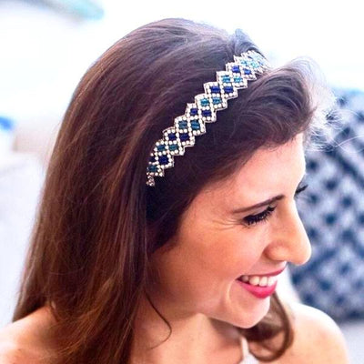 Meghan Beaded Headband - Blue and Turquoise beaded headband