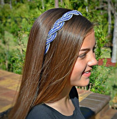 Blue and white twisted bead headband, adjustable