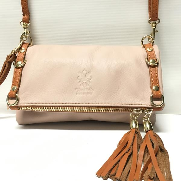 Blush Italian Leather Purse with tan straps, tassels and trim