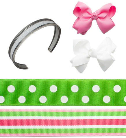 Preppy headbands, interchangeable headbands, pink and green interchangeable headbands, headband sets