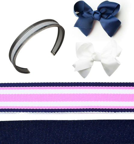interchangeable headband, blue headband, white bow