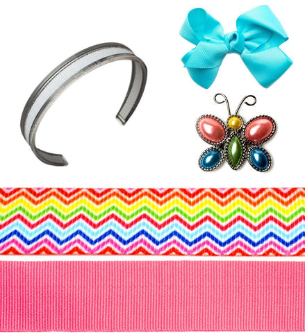 interchangeable headbands, pink headband, rainbow headband, turquoise bow, Modern Girl Bundle, infinity headband