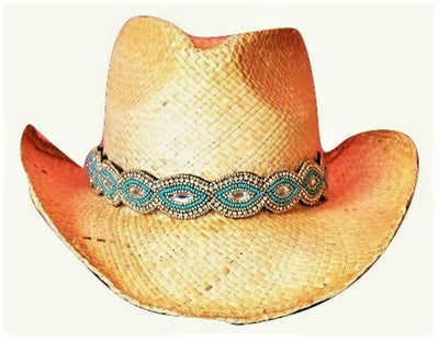 Alexa Turquoise and gold Beaded Cowboy Hat Band