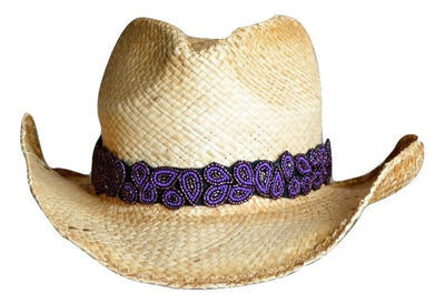 Amanda Purple and black beaded Cowboy Hat Band