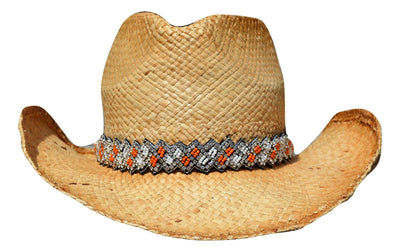 Natalie Orange and White Beaded Cowboy Hat Band