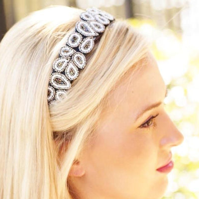 Into The Night Beaded Headband Cover for the classic Headband ONLY - Infinity Headbands by Ambrosia Designs