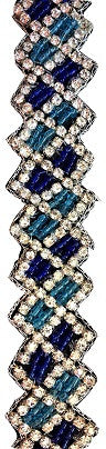 Blue Diamond Beaded Western Hat Band