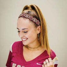 Garnet and Gold headband, adjustable headband