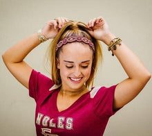 maroon and gold beaded headband, gold headband, garnet headband