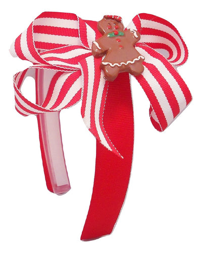 red and white bow with gingerbread for girls