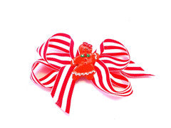 Christmas bows for girls, red and white bow