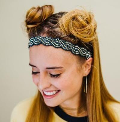 Colleen Beaded Headband - Navy blue and gold headband