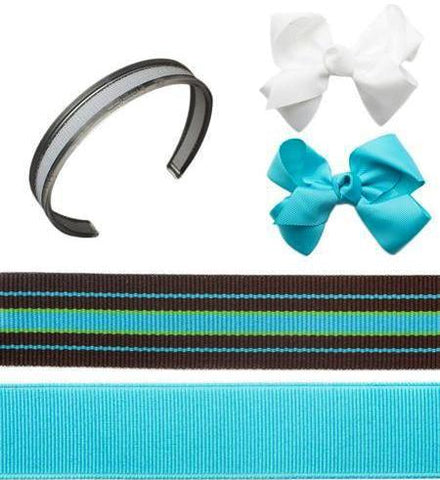 Turquoise headband, turquoise bow, white bow, infinity headband, Cool Bundle