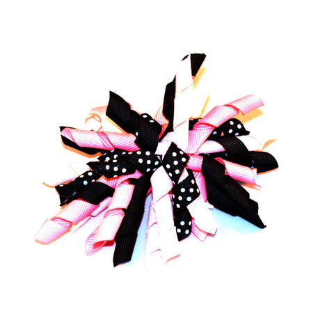 hot pink bow, pink and black bow, curly bow, Diva Corker Bow