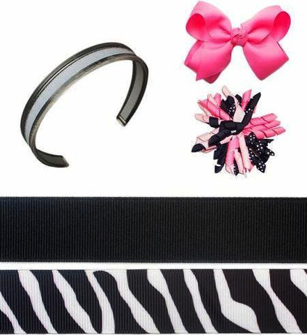 black headband, zebra headband, pink bow, curly bow, infinity headbands, Diva Girl Bundle