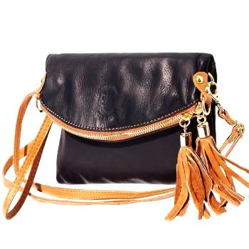 Leather handbag, Cross Body handbag,  black Clutch,  Double Tassel Italian Leather Purse