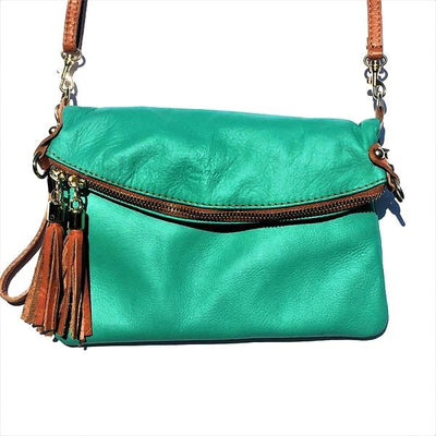 green leather handbag with tassels, italian leather handbag