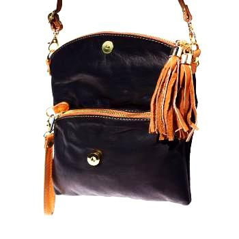black handbag, black with tan leather tassels