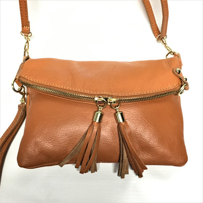 brown leather handbag, italian leather handbag, tassel purse