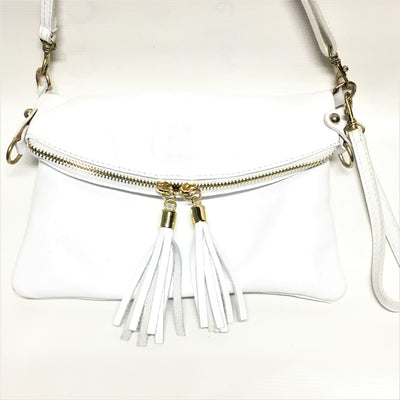 white handbag with white tassels, leather handbag with white tassels