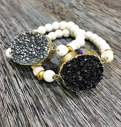 Druzy Stone Beaded Bracelet - Infinity Headbands by Ambrosia Designs