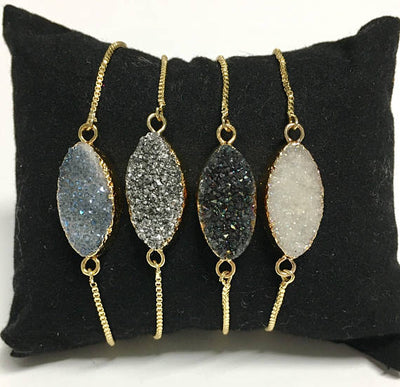 Druzy Gold Adjustable Bracelet - Infinity Headbands by Ambrosia Designs