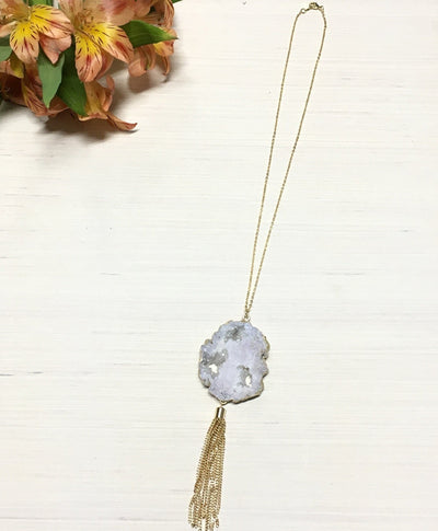 White Irregular Druzy Necklace with Gold Tassel - Infinity Headbands by Ambrosia Designs