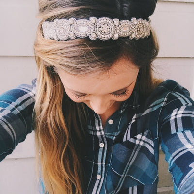 Silver crystal  beaded headband, hand beaded