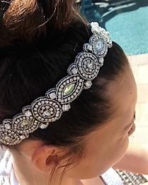 gemstone beaded headband with crystals and rhinestones