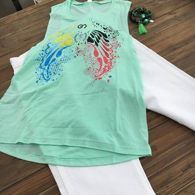 Muscle Tank T-Shirt with colorful angel wings