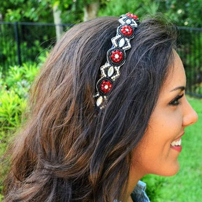 Georgia Beaded Headband -Red Black and White headband
