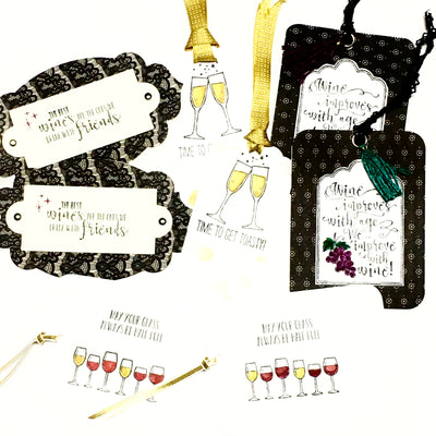 Hand Made Gift Tags- WINE THEMED set of 8 - Infinity Headbands by Ambrosia Designs